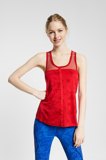 Floral tank top eco T-shirt with mesh