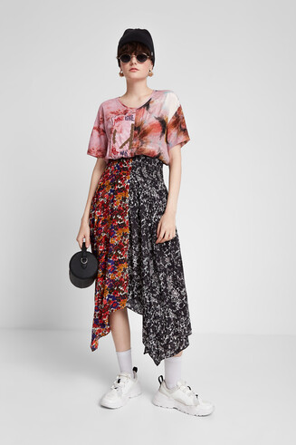 Asymmetric patch print dress
