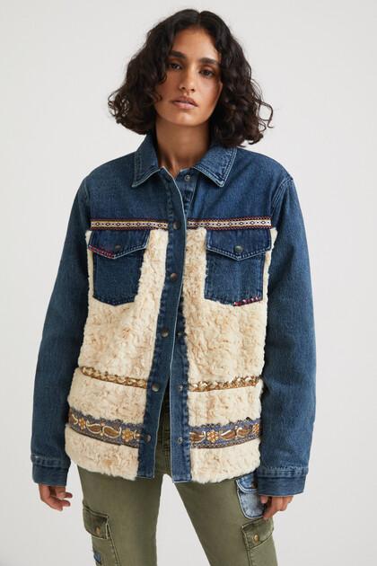 Hybrydowa kurtka dżinsowa ze sztucznym barankiem