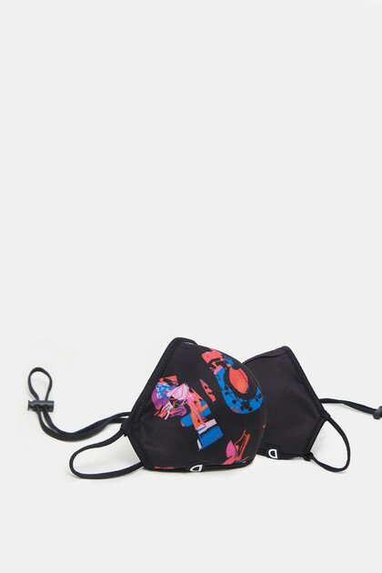 Reversible arty face mask + pouch