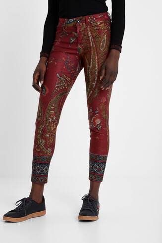 Floral and paisley print skinny trousers