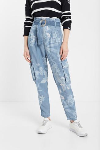 Spodnie dżinsowe eco w kwiaty