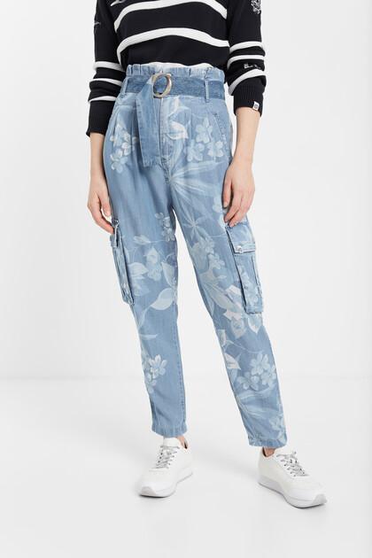 Floral Tencel™ cargo jeans