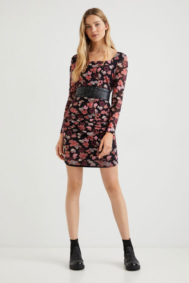 Slim short dress flowers | Desigual