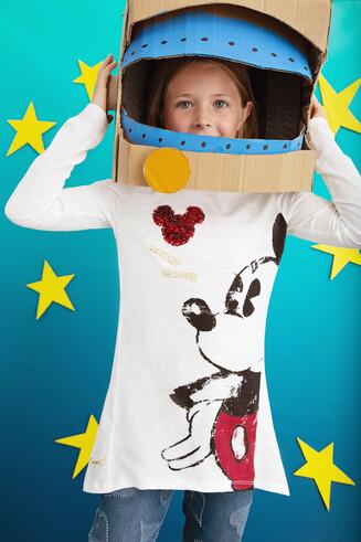 Mini-me Mickey T-shirt met omkeerbare pailletten