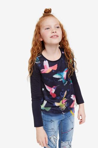 カラフルなハチドリデザインTシャツ