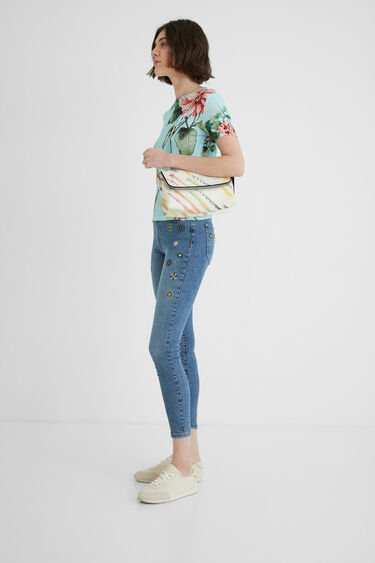 Fine ribbed floral T-shirt | Desigual