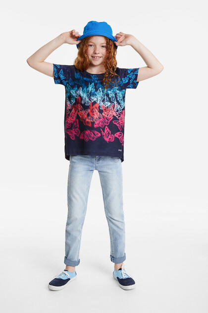 Short multicolour butterflies T-shirt