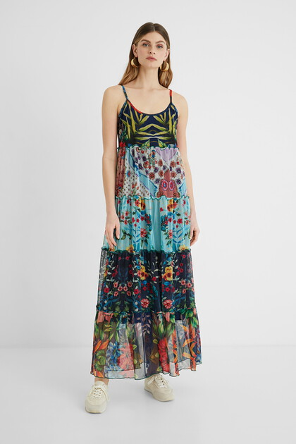 Long flared dress floral patch