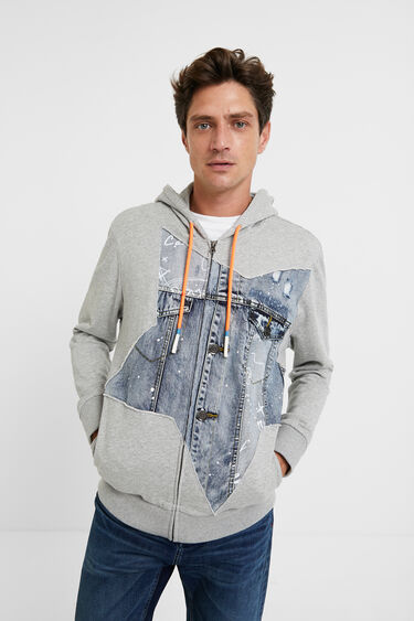 Sweatshirt plush denim patch | Desigual