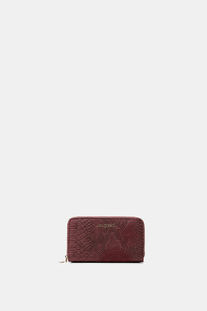 Rectangular reptile leather effect wallet