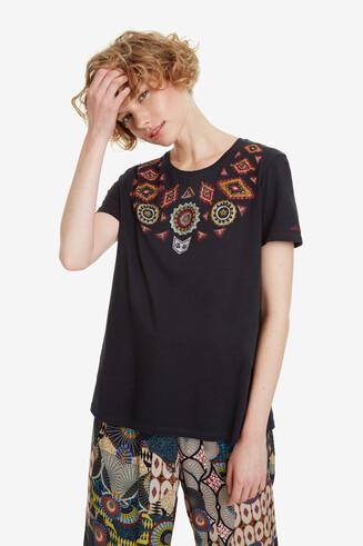 Basic T-shirt etnische stijl Quetzal