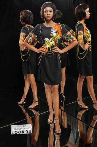 Vestito in viscosa con maniche 3/4 Designed by M. Christian Lacroix