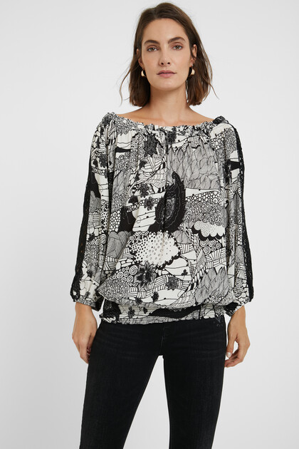 Black and white blouse lace sleeves