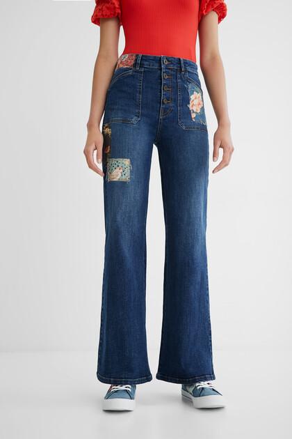 Wide leg jeans patch