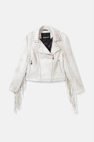 Jaqueta motera amb serrells i tatxes