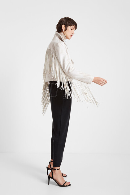 Biker jacket with fringe and studs