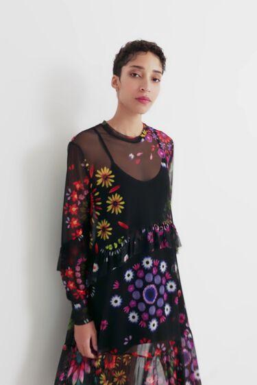 Vestit llarg de doble capa amb tul floral | Desigual