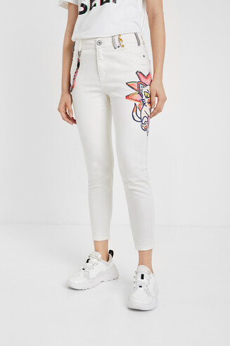 Skinny Jeans mit Illustration