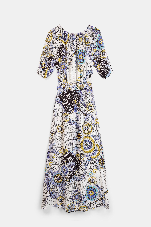 Vestito lungo svasato geometrico e floreale | Desigual