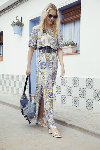 Long flared geometric and floral dress