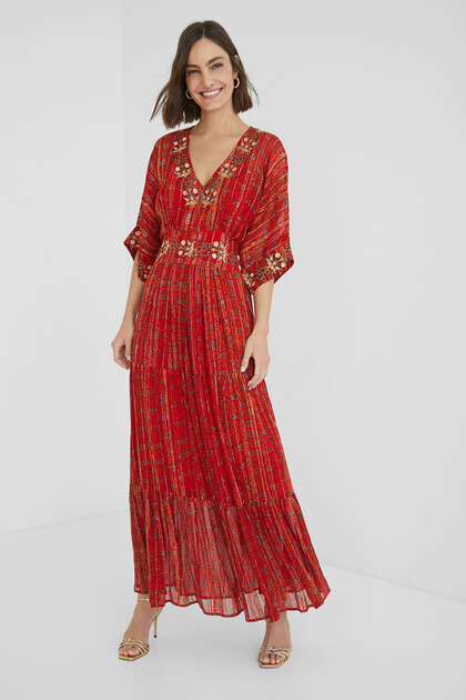 Vestido largo étnico lúrex