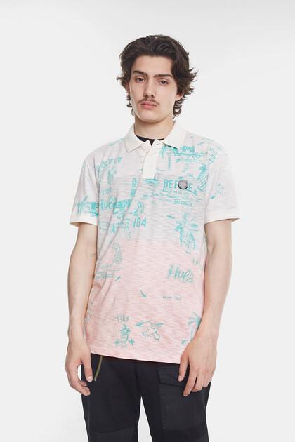 Tricolour Hawaiian-inspired polo shirt
