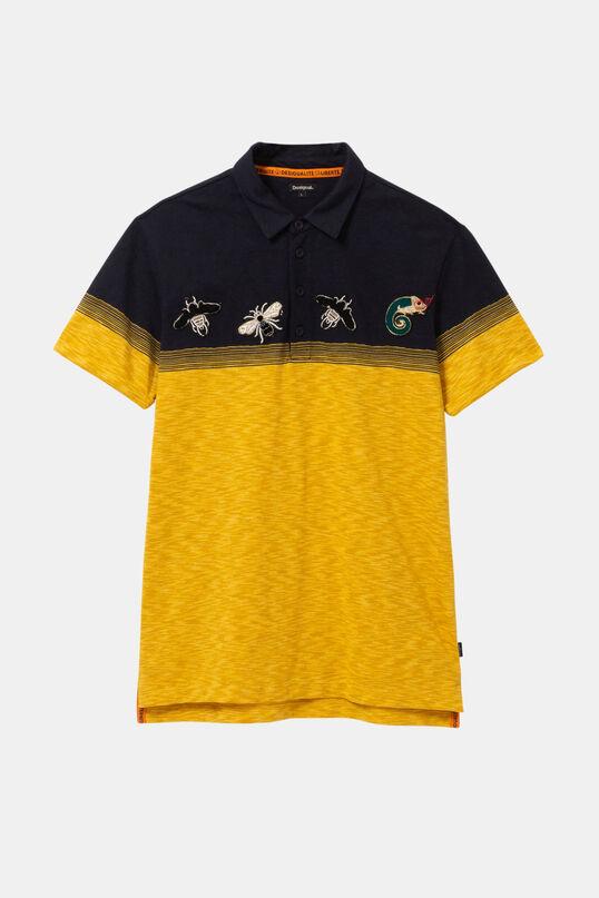 Polo jacquard groc amb brodat   Desigual