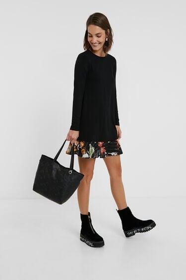 Kurzes Kleid mit blumigem Saum | Desigual