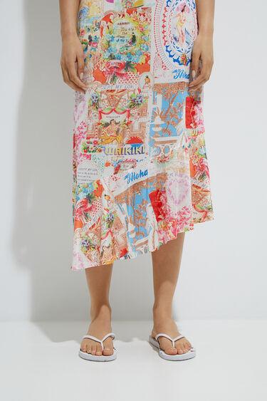 Asymmetric satin dress   Desigual