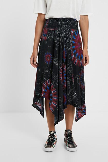 Asymmetric midi-skirt