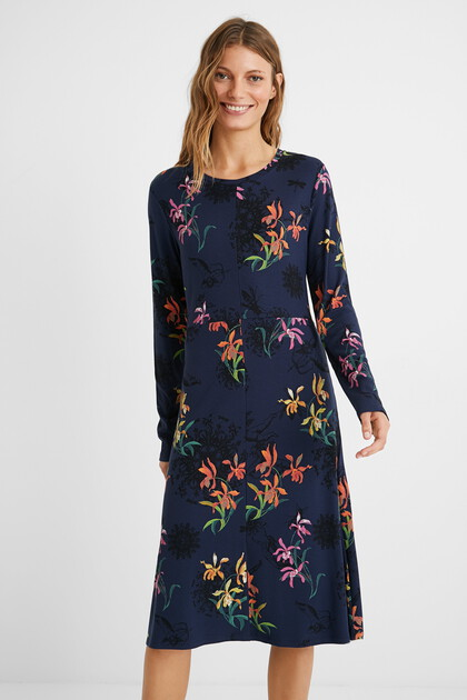 Midi-dress jacquard print
