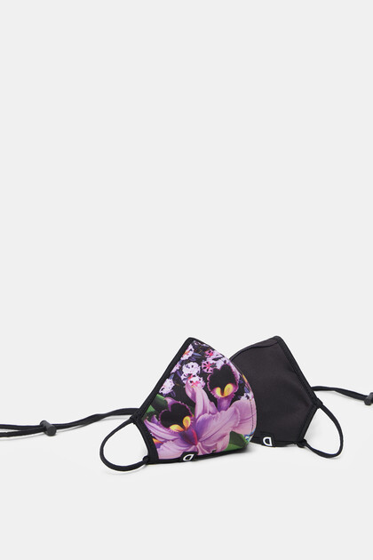 Reversible floral face mask + pouch