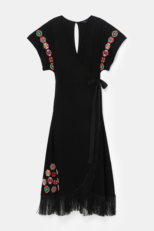 Vestido largo con flecos y flores geométricas |