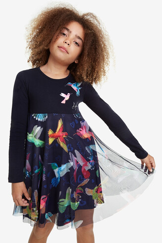 Flared dress birds colours