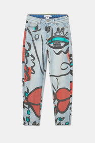 """Unisex straight jeans with """"El beso"""" print   Desigual"""