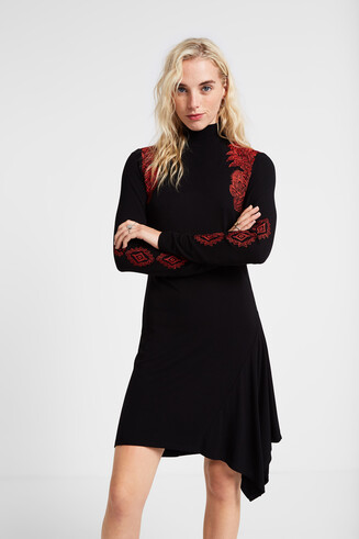 Turtleneck asymmetric dress