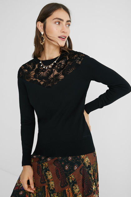 Pull maille fleurs
