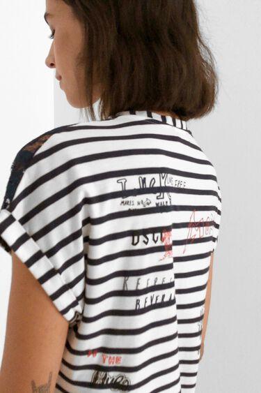 T-Shirt mit Spitze und Marinestreifen   Desigual