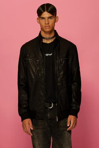 Leather effect biker jacket
