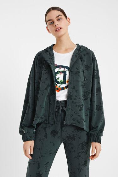 Floral sweatshirt with hood | Desigual