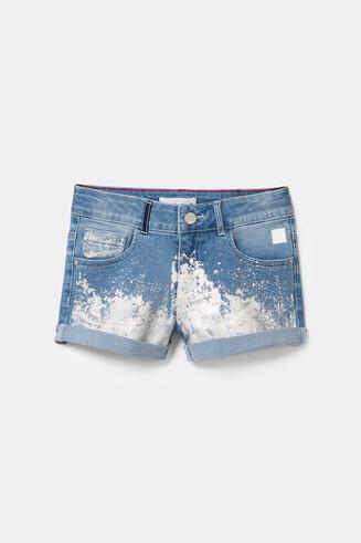Laminated denim shorts