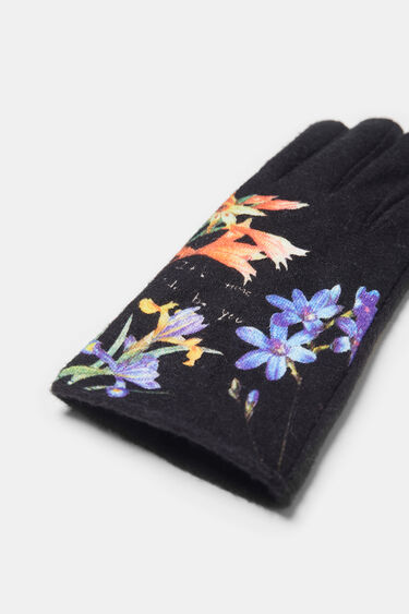Gloves flowers and text | Desigual