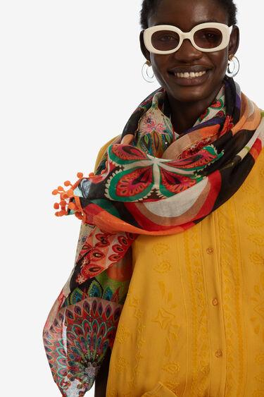 Rectangular afro print scarf | Desigual