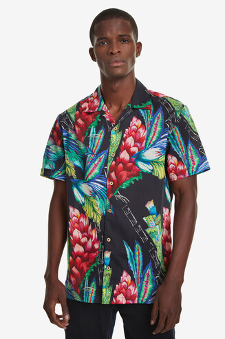 Chemise tropicale col ouvert Darragh