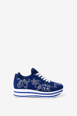 Hydra blue embroidered sneakers