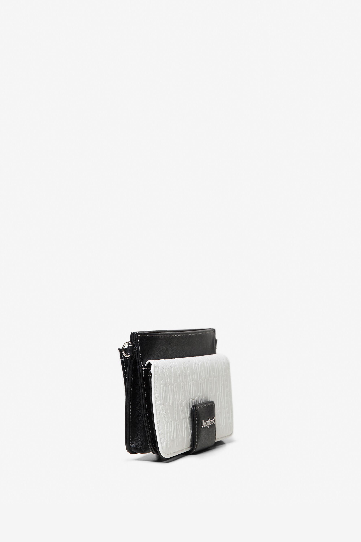 Clutch portemonnaie 2 in 1 mit reliefartigen Buchstaben