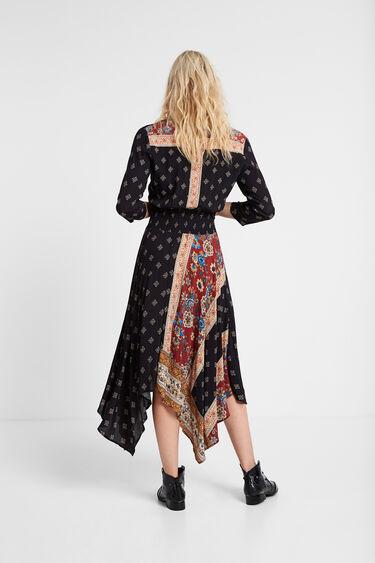 Long asymmetric patchwork dress | Desigual