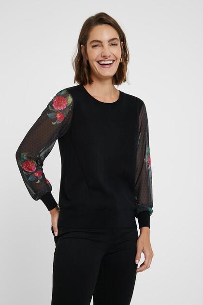 シアースリーブ 花柄セーター