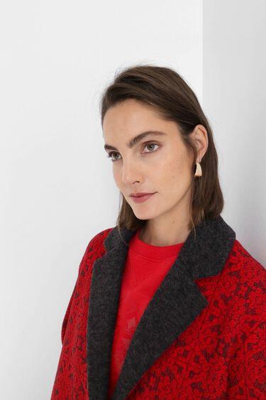 Long tricot coat friezes | Desigual